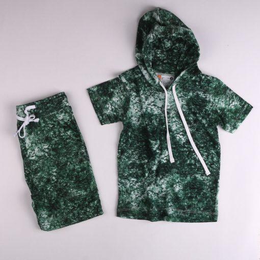 Setelan Hoodie Anak Laki Laki Tie Dye Green Smoke