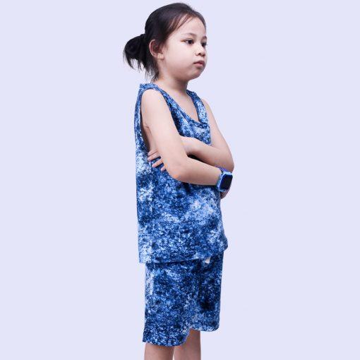 Setelan Singlet Anak Laki Laki Tie Dye Blue Smoke