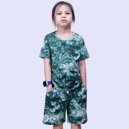 lunakidz Setelan Kaos Anak Laki Laki Tie Dye Green Smoke