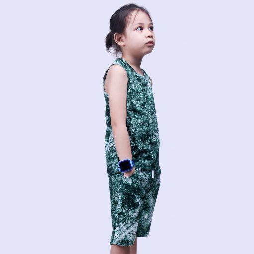 Setelan Singlet Anak Laki Laki Tie Dye Green Smoke
