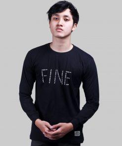 Kaos Lengan Panjang Fine Black And Red Premium